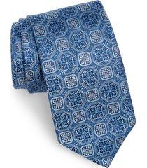 men's david donahue medallion silk tie, size regular - blue