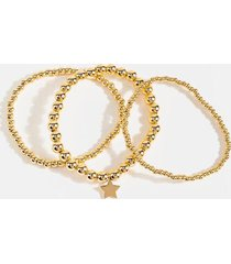 aubree beaded star bracelet set - gold