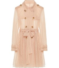 red valentino point d`esprit short tulle trench coat