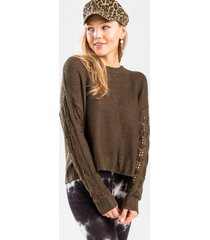 elyzza pointelle sweater - olive