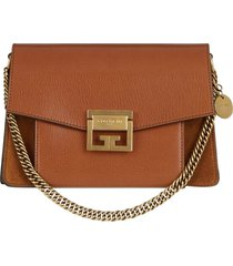 givenchy small gv3 leather & suede crossbody bag - brown