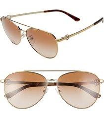 women's tory burch aviator 58mm pilot aviator sunglasses -
