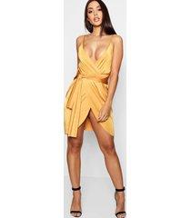 bodycon-jurk in wikkelstijl met riem, oranje