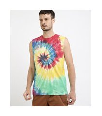 regata masculina mickey estampada tie dye gola careca multicor