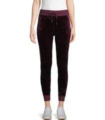 betsey johnson performance women's classic velvet jogger pants - merlot - size l