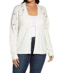 plus size women's halogen embellished cardigan sweater, size 3x - ivory