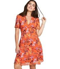 vestido floral detalle botones naranjo nicopoly