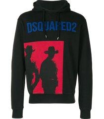 dsquared2 cowboy print hoodie - black