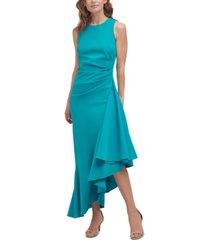 eliza j asymmetrical-ruffle midi dress