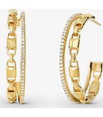 mk orecchini a cerchio mercer link in argento sterling placcato con metallo prezioso con aureole e pietre pavé - oro (oro) - michael kors