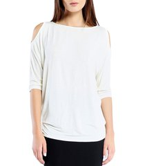 petite women's michael stars cold shoulder tee, size one size - white