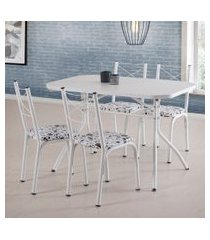conjunto de mesa de jantar com 4 cadeiras miami corino branco