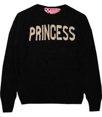 mc2 saint barth girl black sweater princess lurex embroidery