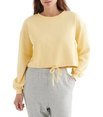 women's lucky brand cool for summer crop sweatshirt, size small - yellow