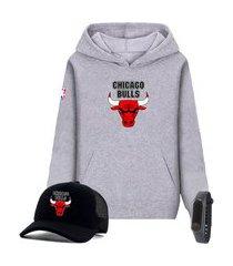 moletom canguru cinza e boné preto time de basquete chicago bulls com relógio