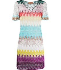 missoni knit bell-sleeve dress - blue