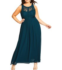 plus size women's city chic lace panel a-line gown, size x-large - green