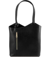 tuscany leather tl141455 patty - borsa donna convertibile a zaino in pelle saffiano nero