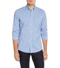 men's big & tall nordstrom tech-smart trim fit check button-down sport shirt, size 3xb - blue