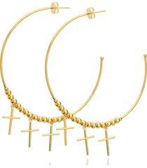 brinco dona diva semi joias argola maxi dourado