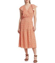 parker women's miley printed smocked dress - terracotta - size m