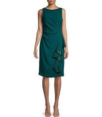 carmen marc valvo infusion women's crepe sheath cocktail dress - emerald - size 10