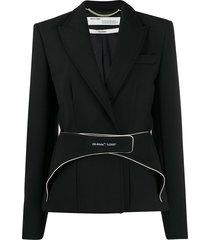 off-white strap detail blazer - black