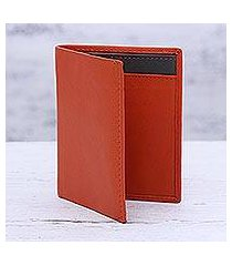 leather card holder wallet, 'fiery passion' (india)