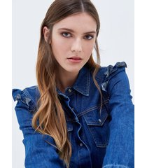 motivi vestito chemisier in denim donna blu