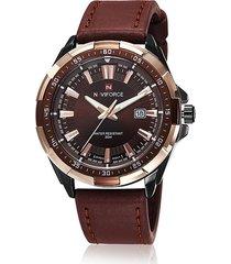 reloj de hombre 9056 naviforce impermeable reloj de hombre casual de cuarzo ver calendario