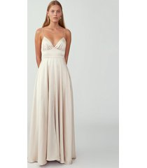 champagne strappy tri cup gown