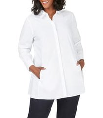 plus size women's foxcroft cici stretch tunic shirt, size 16w - white
