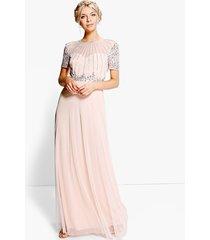 boutique beaded maxi bridesmaid dress, blush