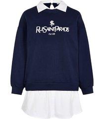 river island womens petite navy 'rue saint paradis' sweatshirt