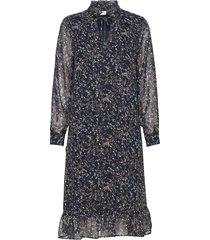 u6021, woven dress l/s jurk knielengte blauw saint tropez