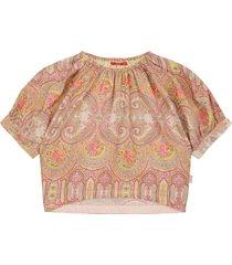 oilily bloei zijde katoenen blouse met paisley print- beige