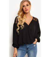 black crossed front design v-neck long sleeves lace insert shirt