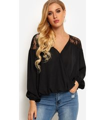 black crossed front design v-neck long sleeves lace insert shirt