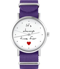 zegarek - it is always time - fiolet, nylonowy
