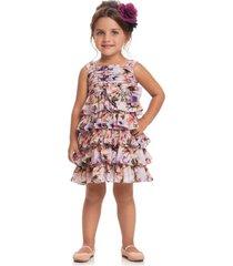 vestido quimby com alã§as em chiffon floral lilas roxo - roxo - menina - dafiti