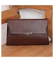leather shoulder bag, 'distinction in chestnut' (mexico)