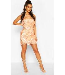 3d floral mesh mini dress, peach