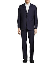saks fifth avenue made in italy men's classic-fit woven wool suit - blue black - size 42 r