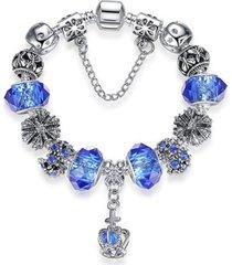 pulsera dije corazon mujer cuentas cristal murano 3788 azul