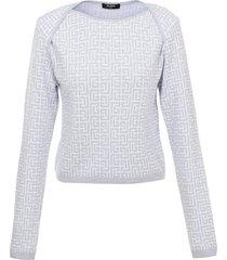 cropped monogram jacquard sweater