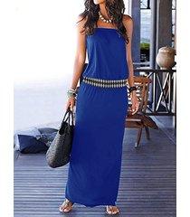 azul marino tribal sin tirantes vestido