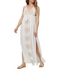 women's o'neill suerte cover-up maxi dress, size medium - white