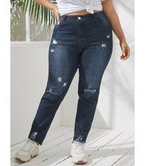 yoins plus tamaño bolsillo diseño cremallera diseño denim pantalones