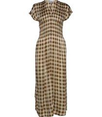 silk stretch satin maxi dress galajurk bruin ganni