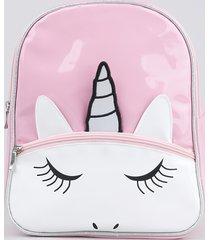 mochila infantil unicórnio em verniz com bolso rosa
